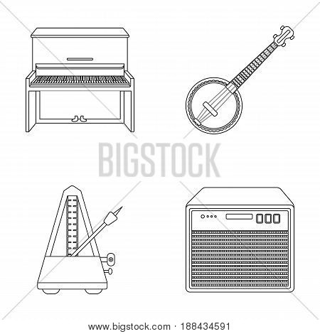 Banjo, piano, loudspeaker, metronome. Musical instruments set collection icons in outline style vector symbol stock illustration .