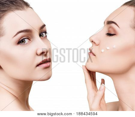 Collage of sensual woman with cream drops on cheek. Isolated on white.