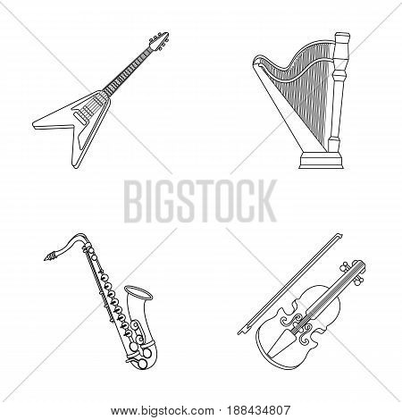 Electric guitar, loudspeaker, harp, saxophone, violin.Music instruments set collection icons in outline style vector symbol stock illustration .