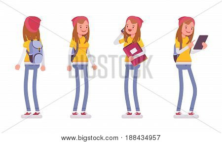 Teenager girl wearing cute beanie and urban messenger rucksack, casual slim fit, standing pose, using gadget, front, rear view, vector flat style cartoon illustration, isolated, white background