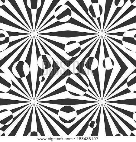 Black and white geometric abstract seamless pattern. Vector illustration, optical illusion. Striped simple lines, hypnotic effect