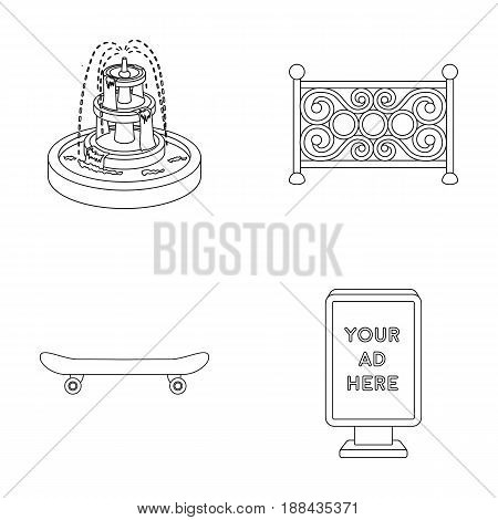 Fountain, fence, skate, billboard.Park set collection icons in outline style vector symbol stock illustration .