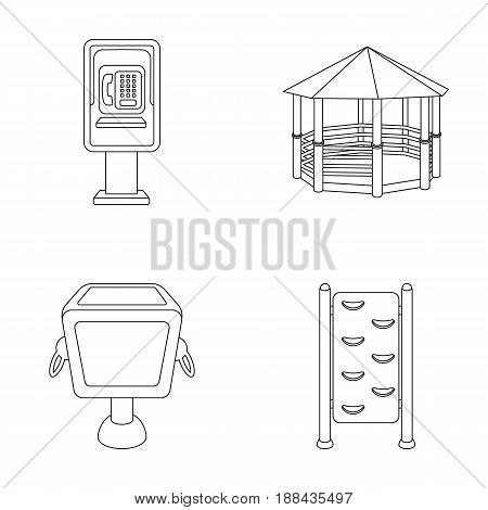 Telephone automatic, gazebo, garbage can, wall for children. Park set collection icons in outline style vector symbol stock illustration .