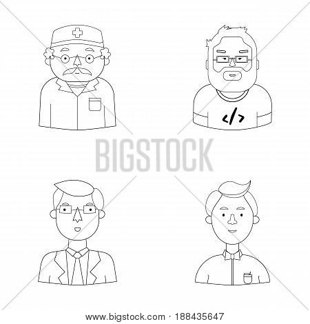 Doctor in a dressing-gown with a red cross on his head, a hacker with a beard in a T-shirt and glasses, a businessman in a tie, a waiter in a gastronome, a butterfly. People of different professions set collection icons in outline style vector symbol stoc