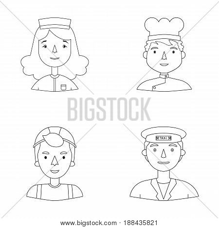 A nurse in a dressing gown, a cook in a hood, a builder in a helmet, a taxi driver in a cap. People of different professions set collection icons in outline style vector symbol stock illustration .