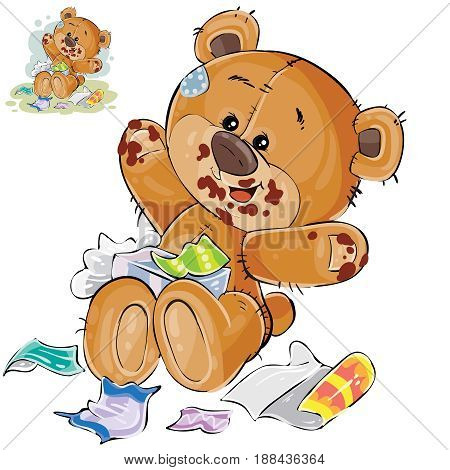 Vector illustration of a brown teddy bear sweet tooth ate a lot of candy and now sits smeared in chocolate. Print, template, design element