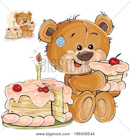 Vector illustration of a brown teddy bear sweet tooth eating a piece of birthday cake. Print, template, design element