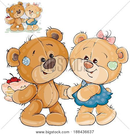 Vector illustration of a brown teddy bear holding a cake behind his back and wants to treat them to his girlfriend. Print, template, design element