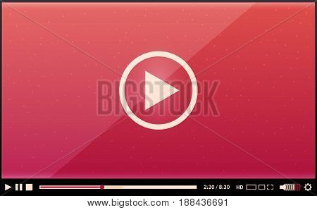 Video player for web and design. vector illustration