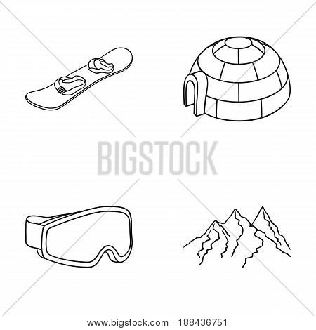Funicular, tent, road sign, snow cannon. Ski resort set collection icons in outline style vector symbol stock illustration .