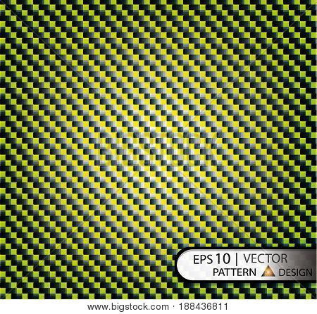 Texture of carbon fiber with bright yellow wreaths under the mask. Seamless pattern vector illustration.