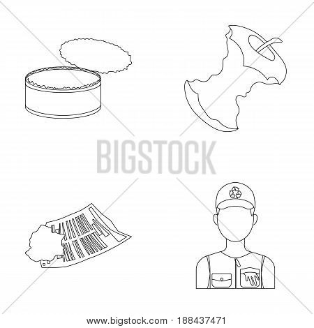 Can used used pot, apple stub, old dirty and wrinkled newspaper, the man who takes out the garbage.Garbage and trash set collection icons in outline style vector symbol stock illustration .