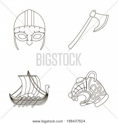 Viking helmet, battle ax, rook on oars with shields, dragon, treasure. Vikings set collection icons in outline style vector symbol stock illustration .
