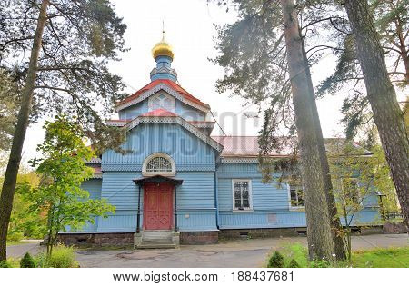 Church of St. Peter the Apostle in the village of Lakhta on the outskirts of St. Petersburg at sunset, Russia.