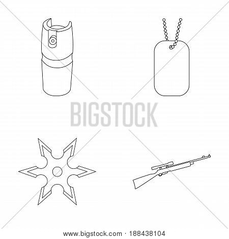 A gas cylinder, a soldier's token, a sniper rifle, a shuriken. Weapons set collection icons in outline style vector symbol stock illustration .