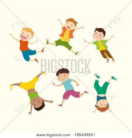 Boy vector mascot in 6 action poses, cartoon vector illustration