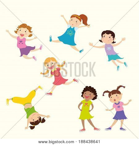 Set of cute cartoon girl, different action poses, isolated on white background, vector and illustration