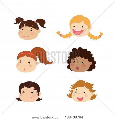 Emoticon icons set of cute girl with various emotions, isolated on white, vector illustration