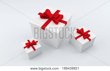 3D square gift box with red bow. Three white boxes with ribbon. 3D rendering.