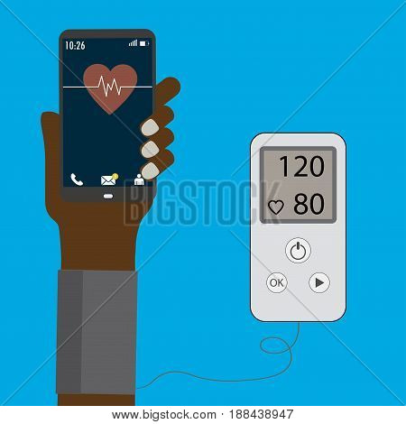 High blood pressure concept , measuring blood pressure.Smart phone in hand. Isolated on blue background, Stock vector illustration