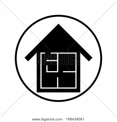 House and Plan icon, Isolated on white background, stock vector illustration