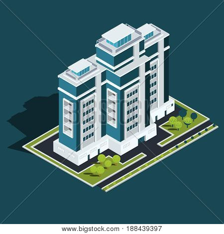 Vector isometric 3D illustration, icon of building skyscraper, offices, residential building