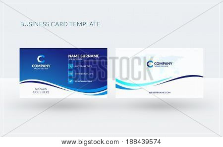 Double-sided Creative Business Card Template. Vector Illustration. Stationery Design
