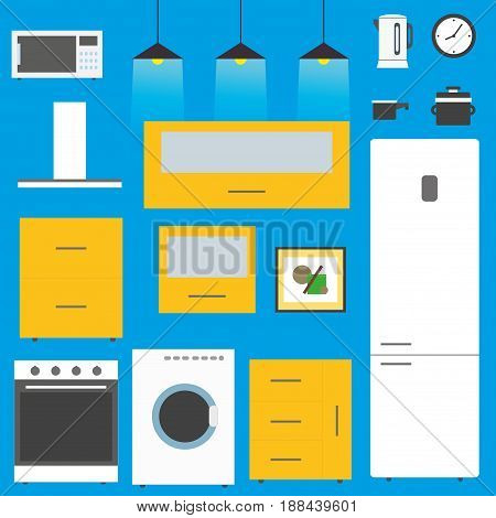 Set - Kitchen furniture, utensils,  and devices. Including fridge, oven, microwave, kettle, . Flat style vector illustration.