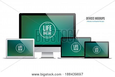 mockup devices: laptops and computer monitor with colored screen isolated on white background. stock vector illustration eps10