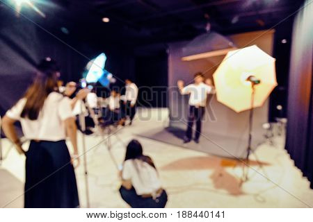 Blurry Image In Studio Learning Still Picture In Studio With Professional Lighting Equipment,  Studi