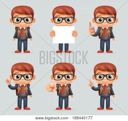 Excellent Student Genius School Clever Smart Boy Uniform Suit Goggles Eyeglasses Schoolbag Different Actions Cartoon Characters Set Design Isolated Vector Illustration