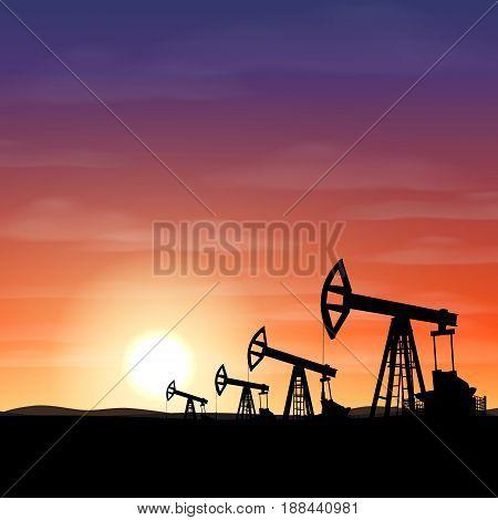 Petroleum rigs at sunset. Oil drill background. Vector illustartion