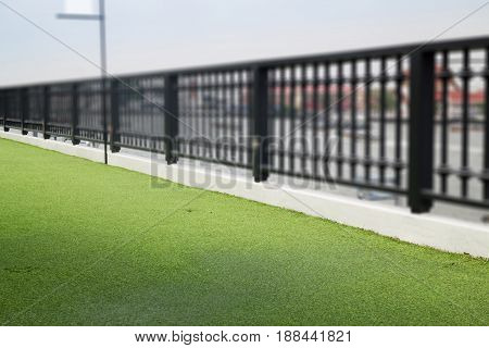 Artifical Green Grass On Rooftop stock photo