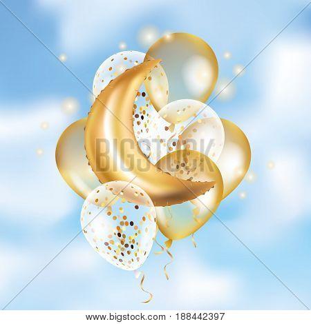 Gold Crescent Moon balloon Ramadan on sky. Moon balloon background. Party balloons event design decoration.