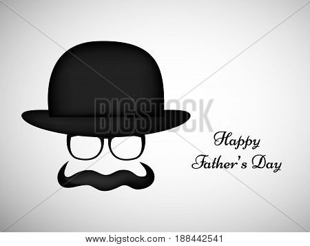 illustration of elements of hat, spectacles and mustache with happy fathers day text