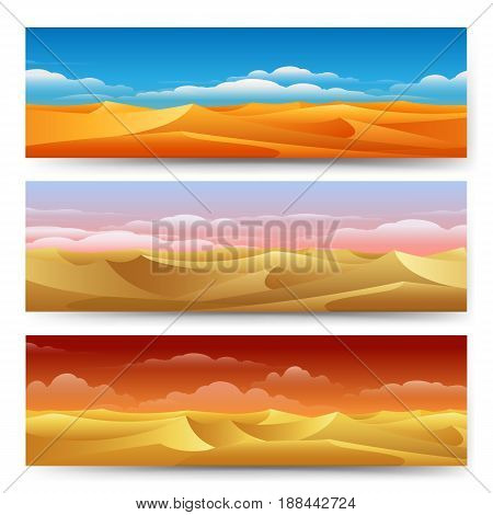 Sand dunes panorama landscape set. Desert banners freedom tranquility yellow nature vector illustration