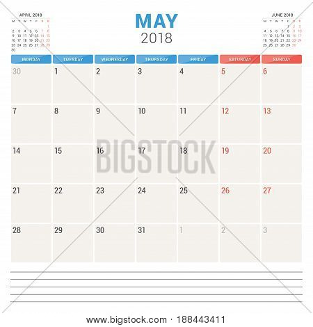 May 2018. Calendar Planner Vector Design Template. Week Starts On Monday. Stationery Design