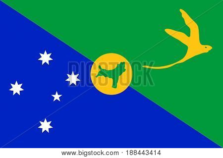National flag of Christmas Island. Patriotic sign with white-tailed tropicbird and Southern Cross constellation. Special Administrative External Territory of Australia. Vector icon illustration