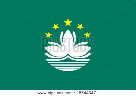 National flag of Macau. Patriotic macanese sign in official colors. Macao symbol is Special Administrative Region of the People's Republic of China. Vector illustration