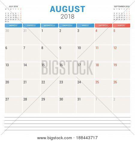 August 2018. Calendar Planner Vector Design Template. Week Starts On Monday. Stationery Design