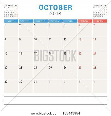 October 2018. Calendar Planner Vector Design Template. Week Starts On Monday. Stationery Design