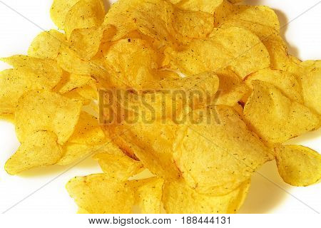 Chips with greens. Potato chips. Isolated on white background.