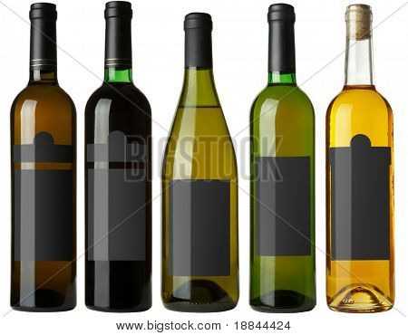 Set 5 bottles of wine with black labels isolated on white background
