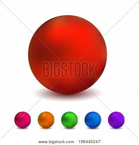 Vector dull glass balls, realistic vector colorful spheres