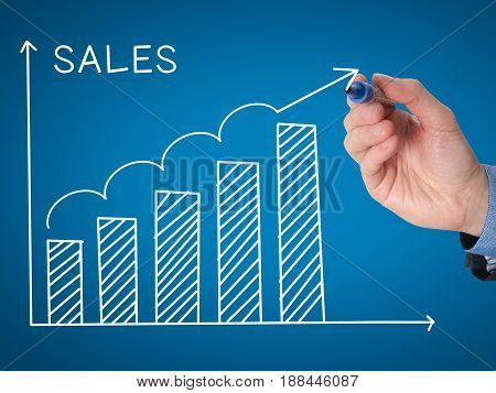 Businessman Hand Drawing Sales Growth Graph With Marker On Transparent Wipe Board