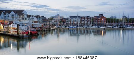 Southampton's Town Quay marina and ferry terminal at dusk