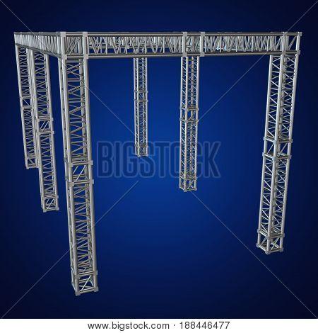 Steel truss girder rooftop construction. 3d render on blue. Business industry concept
