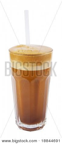 latte macchiato with straw isolated on white background