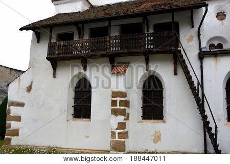 Medieval fortified saxon church in the village Harman, Transylvania, Romania