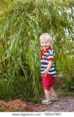 little boy is happy, smiling, standing against a background of trees, shrubs, child